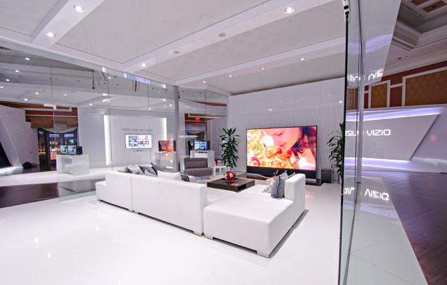 A look inside the plush surroundings within VIZIO's private meeting room exhibit and technology display at CES 2014